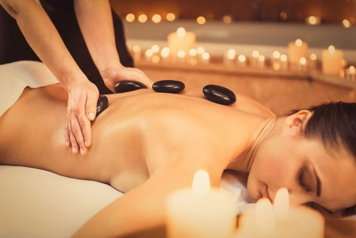 Back, Neck and Shoulder Massage with Hot Stones
